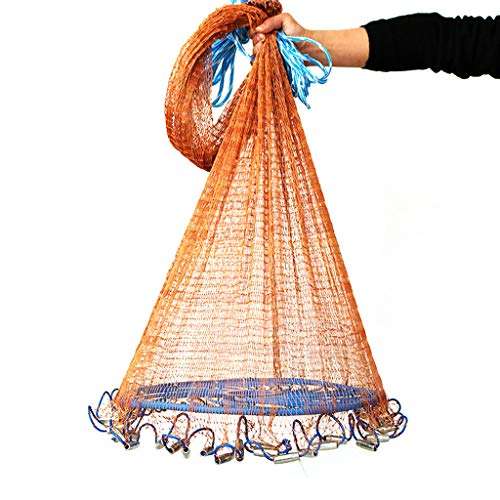 Fine Fishing Nets Cast Net with Aluminum Frisbee for Bait Trap Fish Monofilament Fishing Gill Network with Float Outdoor Sport Fish Gillnet Trap Fishing (Multicolor M)