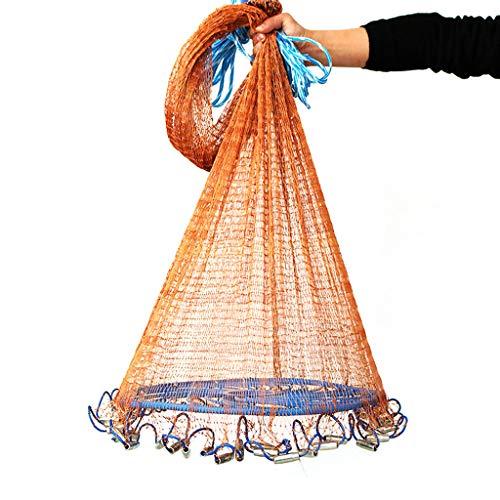 FEDULK Magic Fishing Net Aluminum Ring Monofilament Thread Throwing Net Saltwater Fishing Cast Net(Brown, 2.4m)