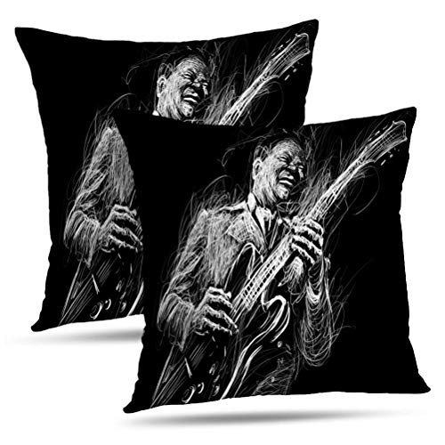 Sexy Glam Rock Guitar - Hdmly Musician Decorative Throw Pillow Covers Cushion Cover, and Jazz Musician with Guitar Player Music Set of 2 Pillow Cases for Home Decor Sofa Couch Bed Cotton 18