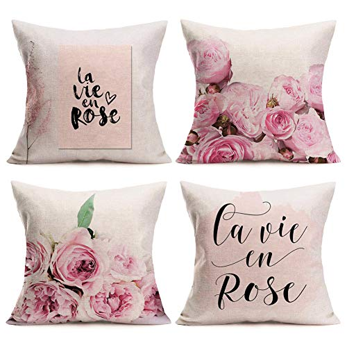 Asamour Pink Rose and La Vie En Rose Lettering Throw Pillow Case Set of 4 French Romantic Style Cotton Linen Decorative Cushion Cover Valentine's Day Mother's Day Pillow Sham 18''x18'' - Mothers Day Pink Rose