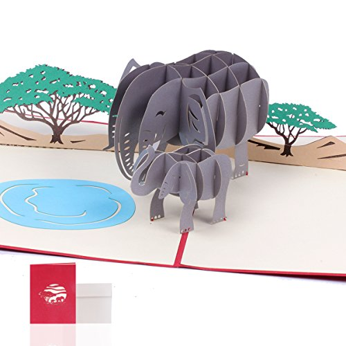 3D Pop up Card | Graduation Birthday Gifts | 3D Elephant Greeting Cards | Origami Paper Craft Card | 7.9 x 5.9 inches - Envelope Included | Fathers Day Gift