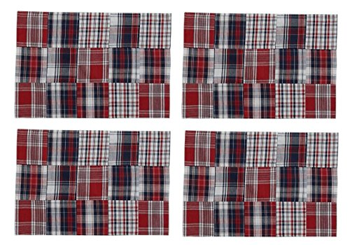 (Kristin's Great Finds Park Designs Trenton Collection Rectangle Placemat, Madras Patchwork, Americana, Set of 4)