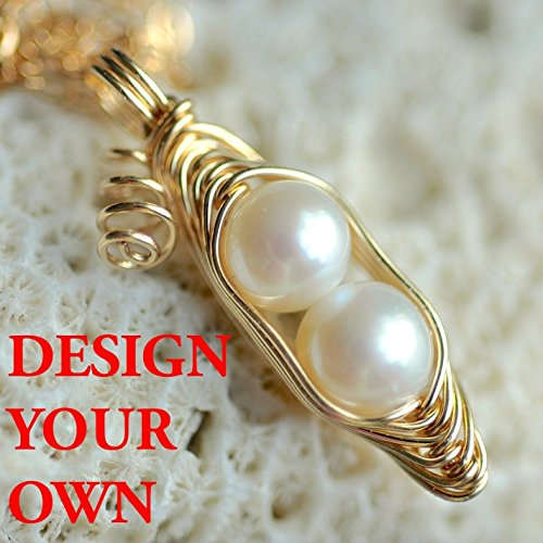 Sweet Pea Pearl Pendant - Gift for mom - 1, 2, 3, 4, 5 PEAS IN A POD sweet peapod necklace - cream white freshwater pearls