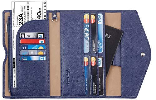 Travelambo Rfid Blocking Passport Holder Wallet & Travel Wallet Envelope 7 Colors (navy blue)