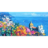 Positano Italy Art on Canvas Prints Amalfi Coast Poster Wall Decor Living Artwork by Agostino Veroni
