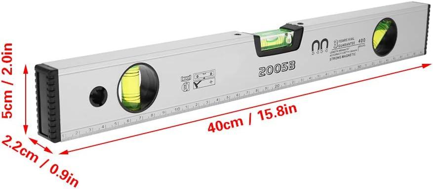 400mm Sliver High Precision Magnetic Aluminum Alloy Bubble Ruler Spirit Level Measuring Tool Ruler Spirit Level Ruler Spirit Lever