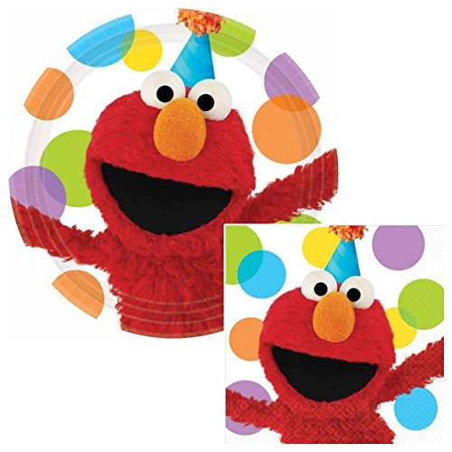 Elmo's Party Lunch Napkins & Plates Party Kit for 8 (Sesame Street Party Big Bird Lunch Napkins)
