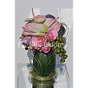 Blushing Pink Roses Anthuriums Orchid Leaves Floral Vase Display 120