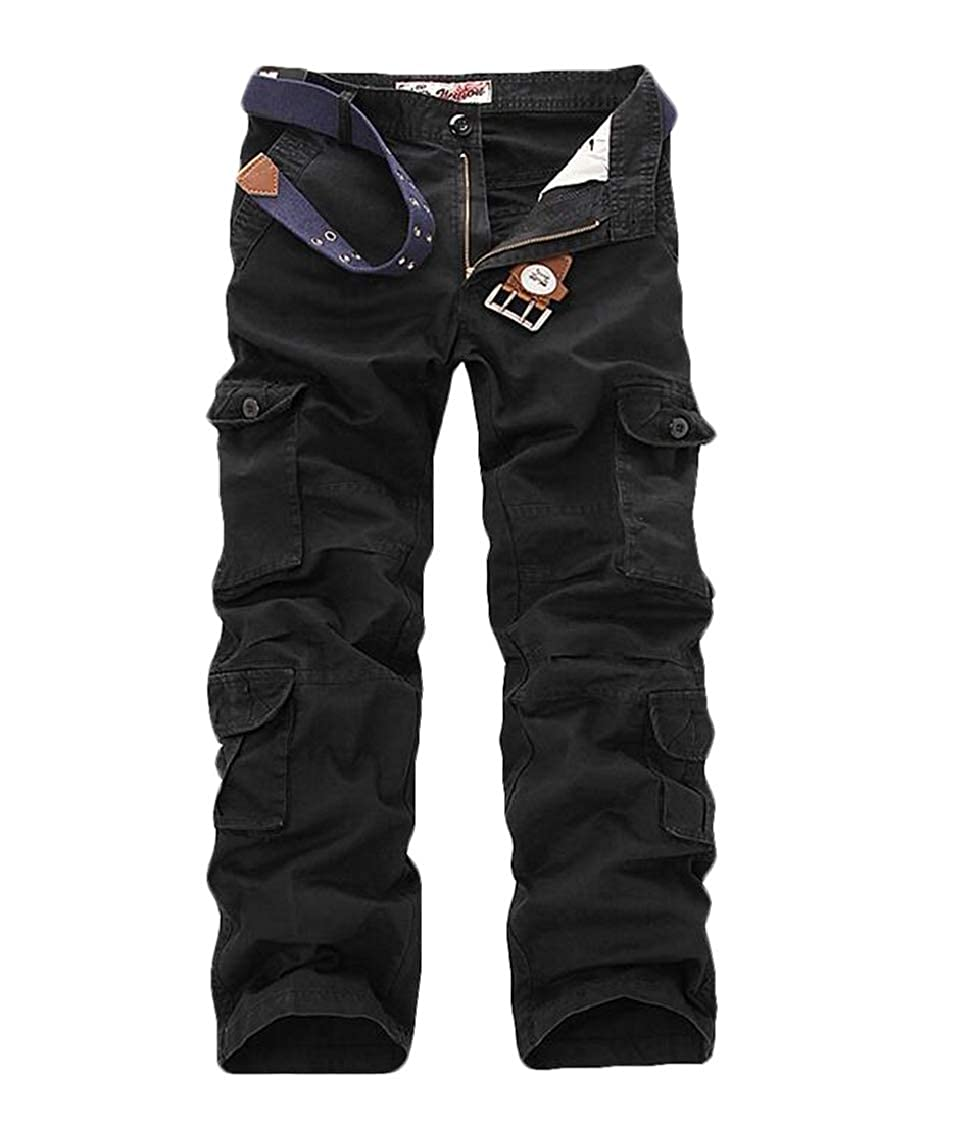 SELX Men Casual Outdoor Big /& Tall Multi-Pockets Washed Military Cargo Pants