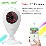 Orvibo Smart Home WIFI Wall Mount Indoor Camera Wireless IP Security Surveillance with Night Vision Two-way Audio Motion Detection SD Card Slot for Baby Pet Garage Monitor