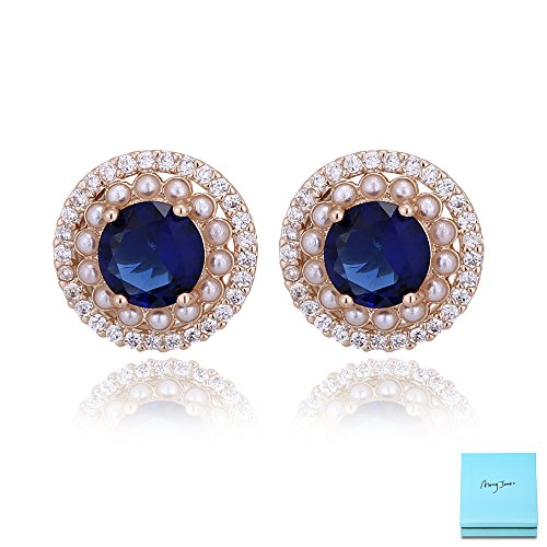 Sapphire Stud Earrings for Women - 14k Gold Plated Round Blue Cubic Zirconia Crystal Encircled by Pearls and Clear CZ Fashion Stud Earrings for Wedding Bridesmaids Valentine's Day - Pearl Earrings Mother Sapphire Of