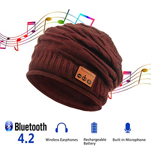 Price comparison product image Pococina Upgraded 4.2 Bluetooth Beanie Music Hat Winter Knit Hat Cap Wireless Headphone Musical Speaker Beanie Hat as Birthday Gifts for Men Women Teen Girls Boys,  Built-in Mic - 012 Wine Red