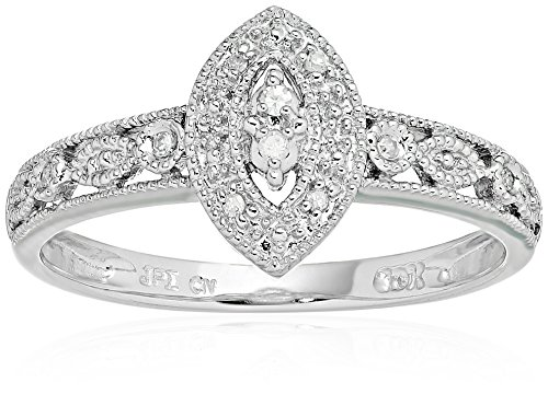 10k White Gold Marquise Vintage Diamond Accent Promise Ring