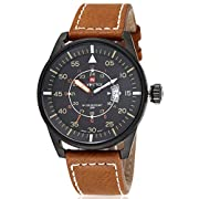 Amazon Lightning Deal 99% claimed: Voeons Men's Watches Brown Leather Strap Quartz Auto Date Casual Watch