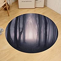 Gzhihine Custom round floor mat Forest Dark Grey Decor Path Through Deep in Forest with Fog Creepy Twisted Branches Twilight Picture Bedroom Living Room Dorm Grey