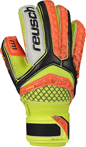 Reusch Soccer Pulse Pro M1 Ortho-Tec Junior Goalkeeper Glove, Orange/Yellow, Size 5