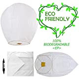Chinese Lanterns & Sky Lanterns (5 Pack) ECO Friendly +Marker Pen, 100% Biodegradable - Beautiful Lantern for White for Weddings, Birthdays, Memorials and Much More by Smeiker