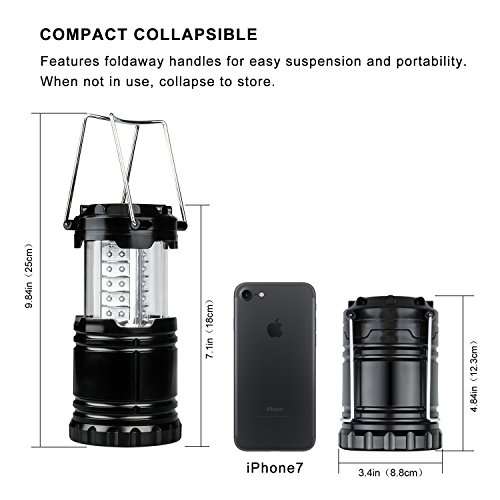 MagicBuds Portable Outdoor LED Camping Lantern with 6 AA Batteries 2 Pack (Black, Collapsible)