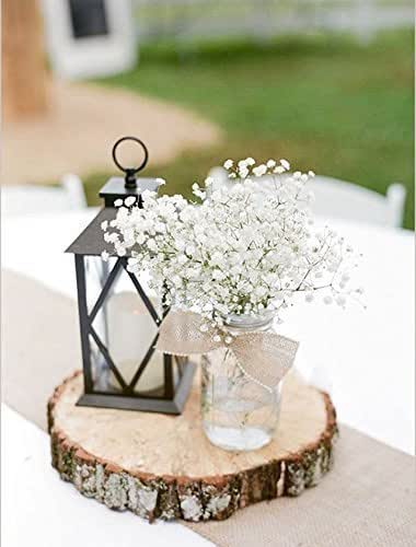 Rustic wedding centerpiece round tree bark for Tree trunk slice ideas