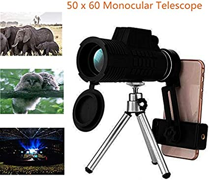 Waterproof Optical Glasses-Ideal for Hunting Birdwatching and Hiking Travel 50 x 60 Monocular Telescope for Mobile Phone,Day and Night Vision Monocular with Phone Clip and Tripod
