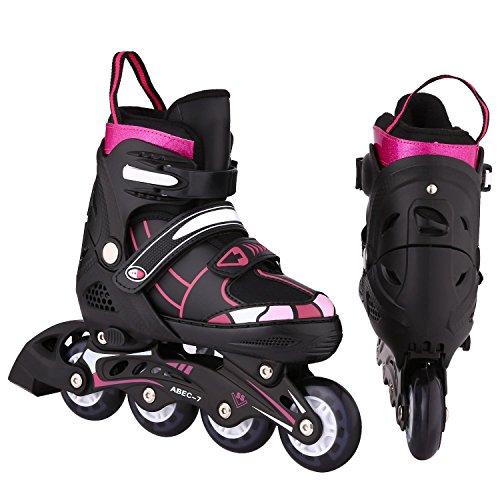 Evokem Adjustable Kids Boys Girls Inline Skate Shoes with Illumination Wheels, Breathable Mesh and Aluminum Frame (Black Red, M) ()