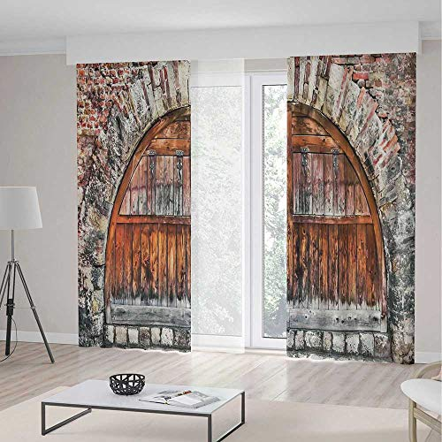 Rustic Decor Room Decor Curtains,Photograph of A Brick Stone Rampart with Oval Gate with Dated Ancient Materials Art Print,Living Room Bedroom Curtain 2 Panels Set,197 W 104 L,Grey (Beaded Oval Privacy Set)