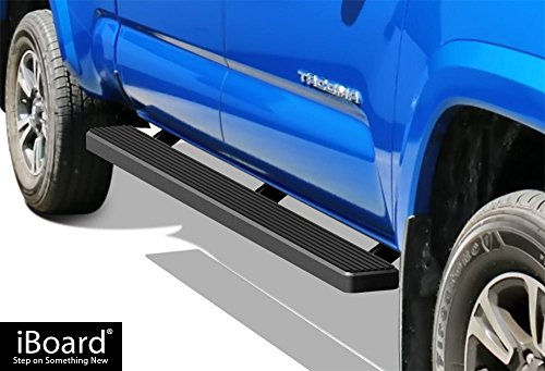 Tacoma Double Cab Nerf Bar - APS iBoard (Black Powder Coated 5 inches) Running Boards | Nerf Bars | Side Steps | Step Rails For 2005-2018 Toyota Tacoma Double/Crew Cab Pickup 4-Door