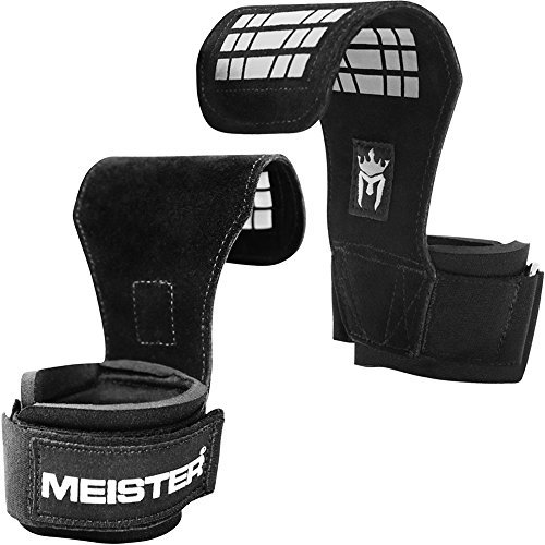 Meister Elite Leather Weight Lifting Grips w/Gel Padding (Pair) - Small/Medium
