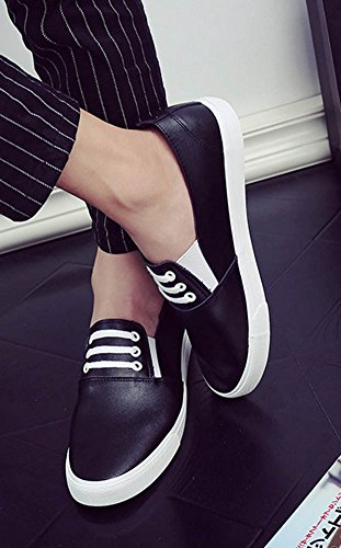 Aisun Heren Casual Comfortabele Ronde Neus Platform Sneakers Slip Loafers Skateboard Flats Schoenen Zwart