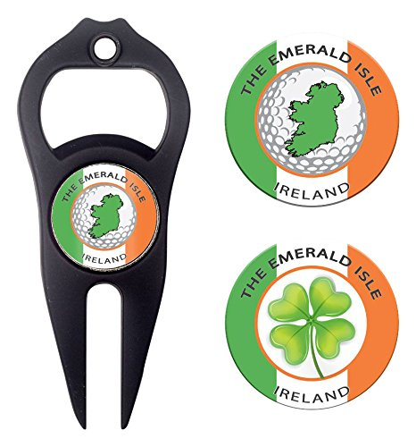 Golf Divot Fixer (Hat Trick Openers 6-in-1 Golf Divot Tool & Poker Chip Marker Set with Ireland Logo, Black)