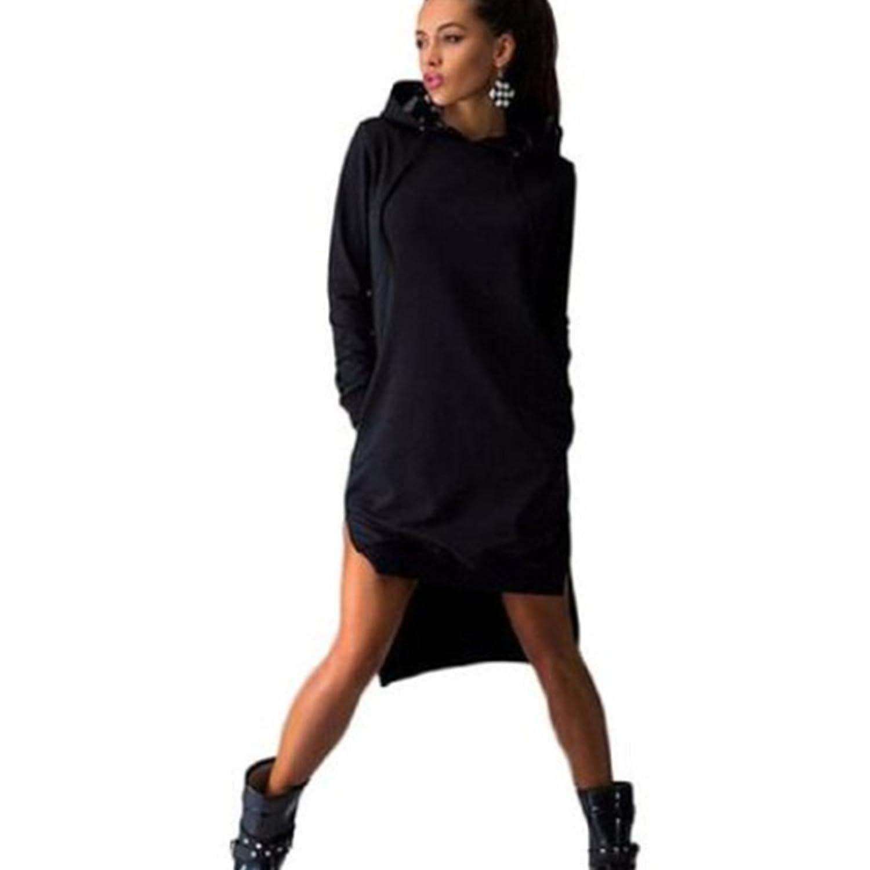 Fanessy Frauen Sweatshirt Kleid, Double Split Hoodie Pullover Pockets Sweater