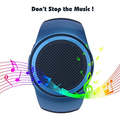 SUERSUN Speaker Watch, Wearable Speaker Mini Multifunctional Bluetooth Sports Speaker, TF Card MP3 Music Player, FM Radio, Handsfree, Selfie, Blue