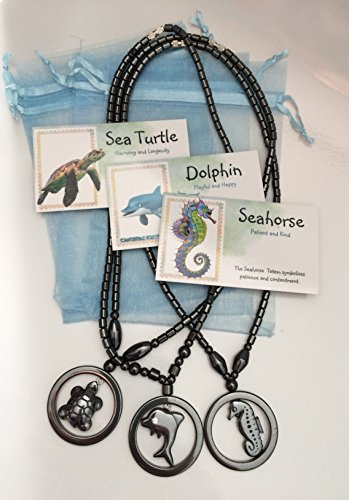 (Smiling Wisdom - Hematite Seahorse, Sea Turtle, Dolphin Necklaces Gift Sets - 3 Spirit Animal Totem Gifts - Boys, Children, Tweens, Teens, Girls - Team Events, Ice Breakers, Party Favors)