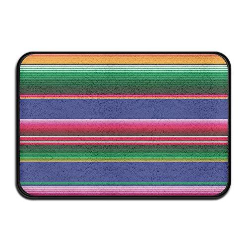 (HOMESTORES Novel Colorful Mexican Blanket Stripes Bath Rug Flannel Microfiber Foam Bath Mat - Non Slip Soft Absorbent Bathroom Mat Kitchen Floor Carpet 17x24 Inch)