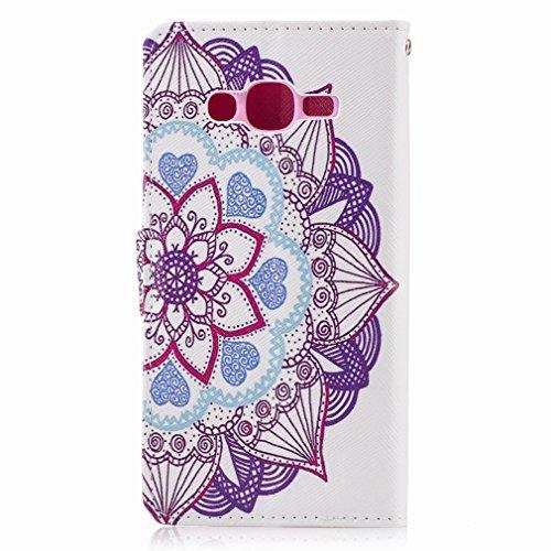 Yiizy Samsung Galaxy J2 Prime / G532M / G532F / G532G Custodia Cover, Fiore Viola Design Sottile Flip Portafoglio PU Pelle Cuoio Copertura Shell Case Slot Schede Cavalletto Stile Libro Bumper Protetti