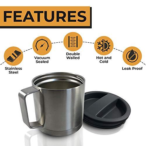 (Stainless Steel Insulated Coffee Mug with Lid - Camping Mug - Beer Mug - 18oz 540ml Thermal Mug with Handle)