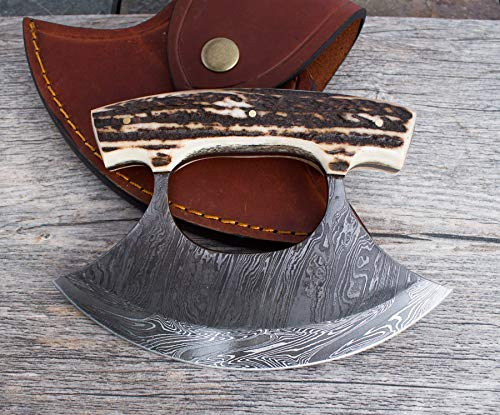 Damascus Steel Custom Inupiat Ulu Knife with Antler Full Tang North Star Knife & Ulu Handmade Lifetime Warranty Excellent Kitchen Cutlery (Tangs Store)