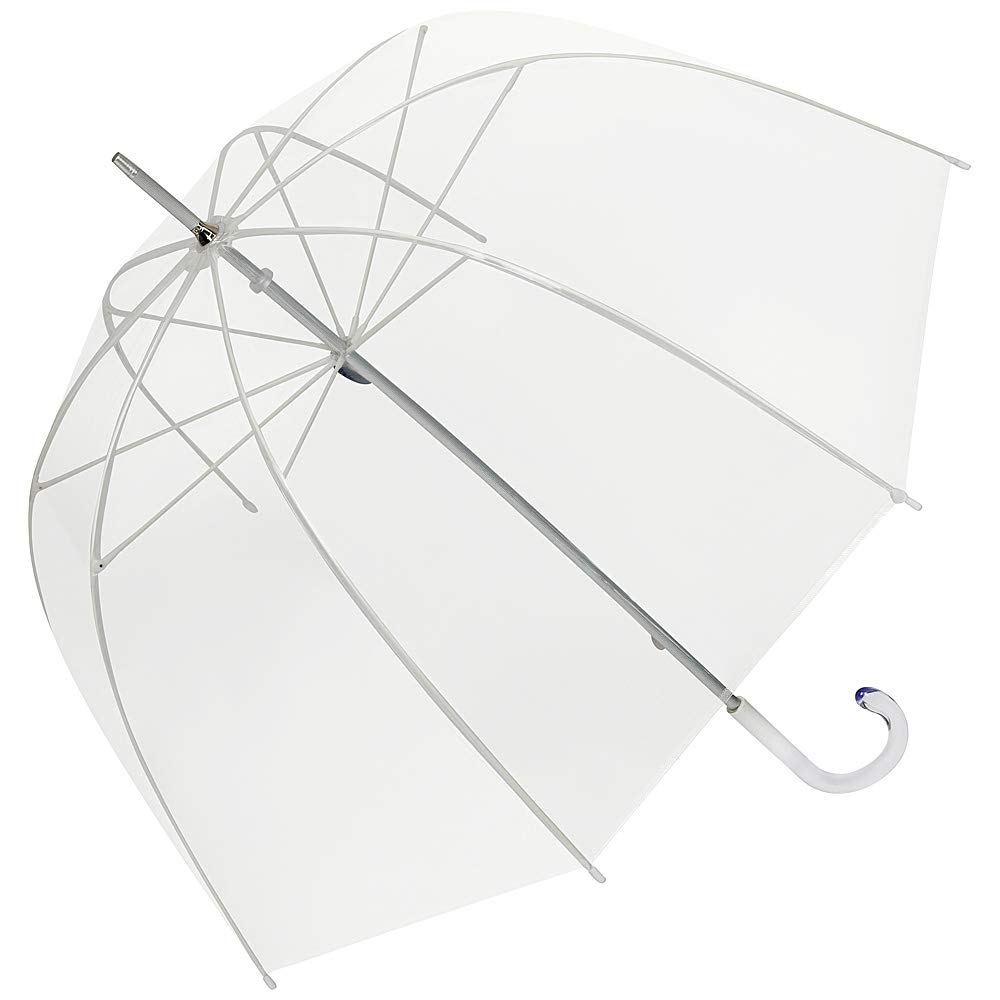 Elegante paraguas con forma de campana  y varillas en fibra de vidrio.