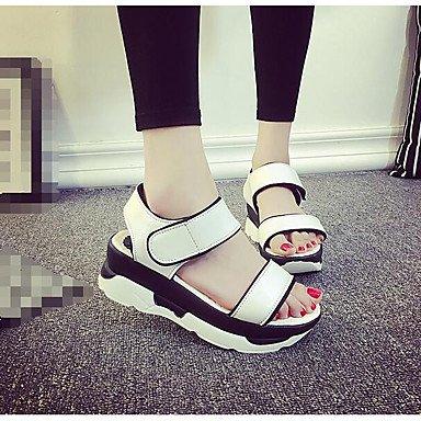 RUGAI UE sandalias CALZADO UE36 PU UK4 CN36 Las CASUAL Blanca Heels High Confort US6 mujeres White drrxXqt