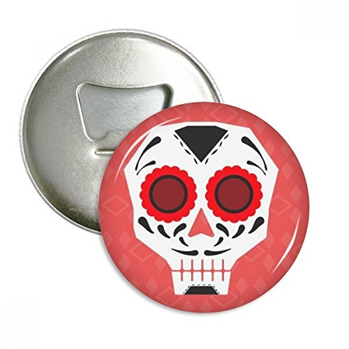 - Red Eyes Skull Mexico National Culture Illustration Round Bottle Opener Refrigerator Magnet Pins Badge Button Gift 3pcs