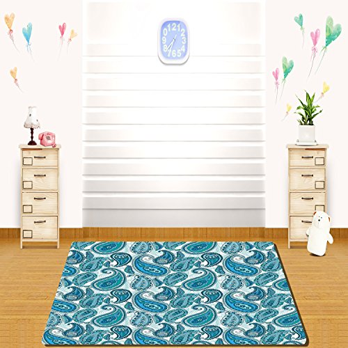 HAIXIA rugs Paisley Decor Ocean Inspired Design with Stripes and Flowers Abstract Background Image Full Blue and (Seagrass Stripes Rug)