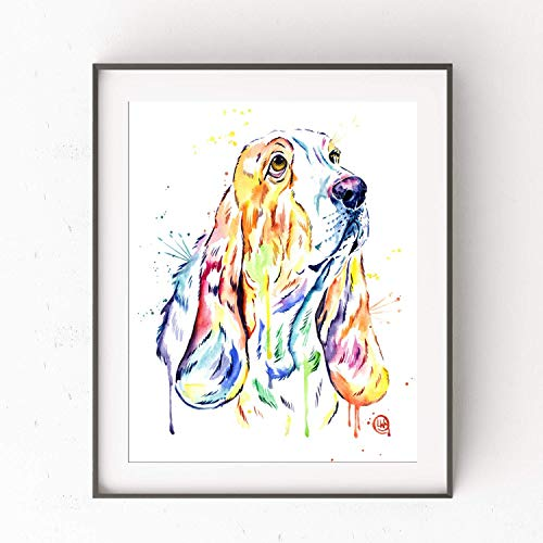 Basset Hound Wall Art by Whitehouse Art | Basset Hound Gifts, Dog Wall Art, Dog Picture | Professional Print of Basset Hound Original Watercolor | Dog Gifts | 3 Sizes ()
