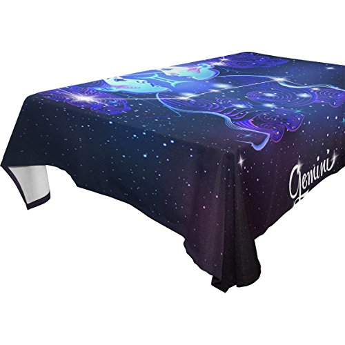 Constellation Zodiac Sign Gemini 100% Polyester Tablecloth Table Cover for Dinner Parties Picnic Kitchen Home Decor, Multi