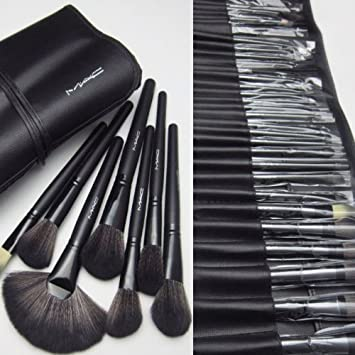 Amazon.com: MAC 32 Pcs Professional Makeup Eyebrow Shadow Cosmetic Brush Set Kit Pouch: Beauty