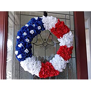 "Handmade Patriotic USA American Flag Floral Wreath for Front Door Porch Memorial Day July 4th Veterans Labor Day Summer Home Decor Red White and Blue 21"" 111"