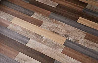 "Nance Industries Versaplank Peel and Stick Stain Proof Vinyl Plank Flooring, 6""x48""x2.5mm, Assorted Colors, 10 Planks"