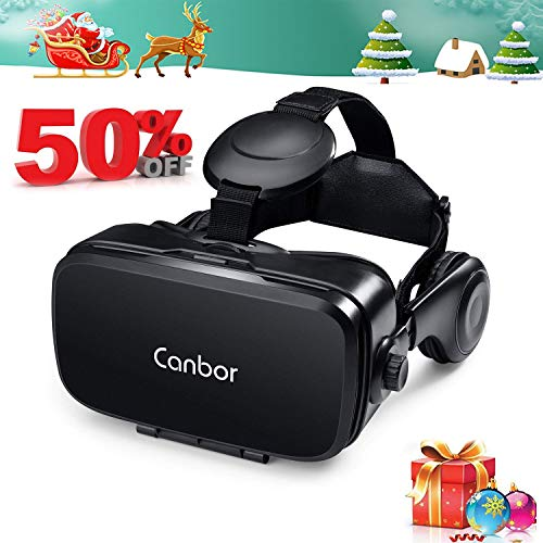 Canbor VR Headset, VR Goggles Virtual Reality Headset 3D Glasses with HD Stereo Headphones for 3D Movies and Games Compatible with 4.7-6.2 Inches Apple iPhone, Samsung HTC More Smartphones