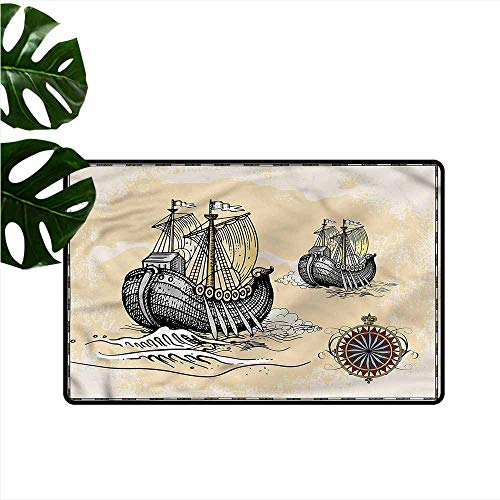 DONEECKL Non-Slip Door mat Vintage Antique Map Pirate Ships Easy to Clean W35 xL47