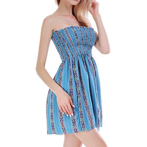 Ropa Niña Impresión Fiesta Verano Camisetas Vestido Mujeres Chaleco de Mini Casual de Mangas de Falda Vestido de de sin Playa Playa Vestido DOGZI Azul Retro Mujer Oscuro Vestido Vestir UgqPFAUw