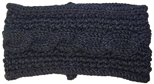 Best Winter Hats Womens Rib Stitch Cable Knit Circle Headband/Warmer (One Size) - Black
